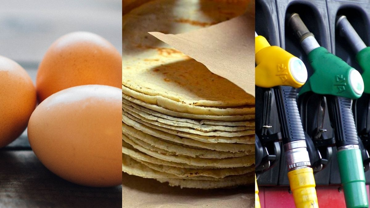 Huevos, tortillas, gasolina