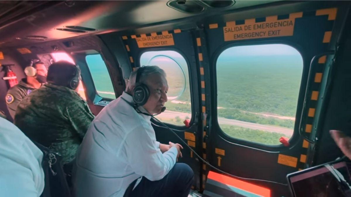 AMLO vuela sobre Tren Maya